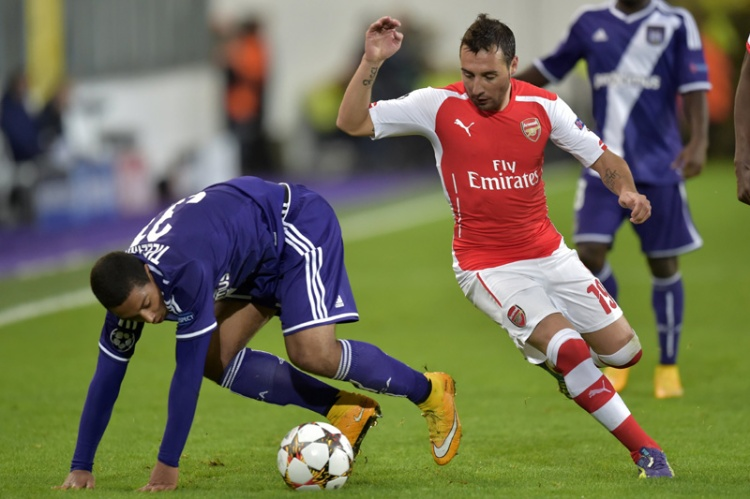 Youri Tielemans of RSC Anderlecht battles for the ball with Santi Cazorla of Arsenal - Photo by Peter De Voecht/Photonews - CC-BY-ND-SA-2.0